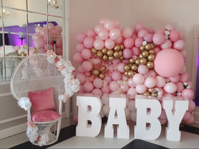 Baby shower decoration in london, Balloon wall and baby letter table