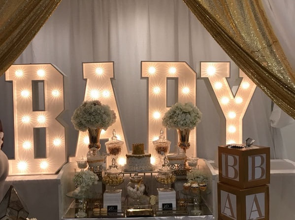 Baby shower decoration in london, baby light up letters and baby sweet table