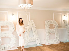 Baby shower decoration in essex, luxury 5ft flower letters.