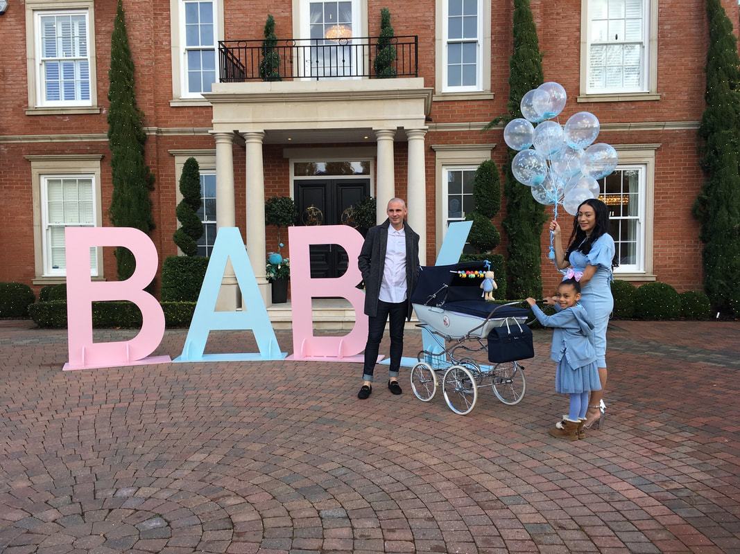 Baby shower decoration in london, 5ft baby letters, baby shower balloons and baby boxes