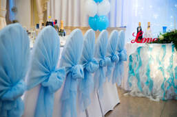 Baby shower decoration in london, baby blue chair hoods with baby boxes