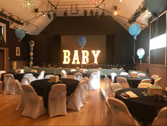 Baby shower decoration in london, Baby light up letters and balloons